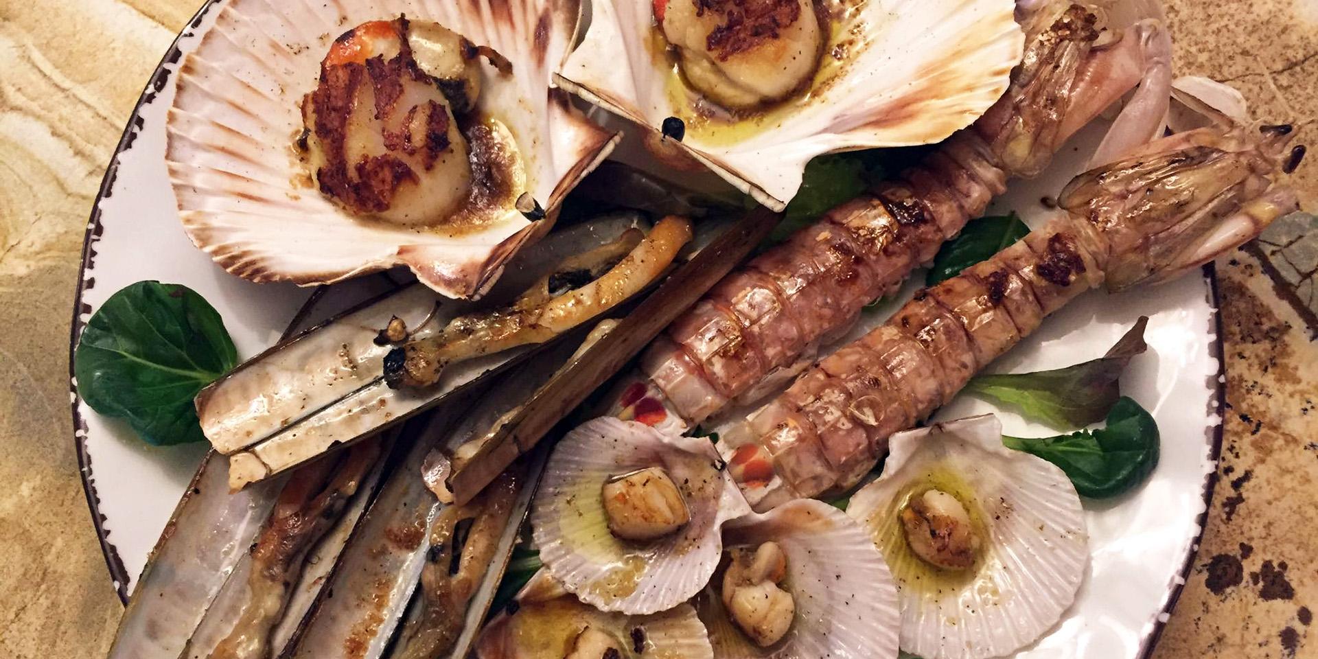Vini da Pinto - Rialto- menu razor clams scallops mantis prawns